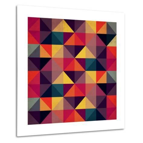 Grunge Colorful Seamless Pattern with Triangles- Artgraphixel-Metal Print
