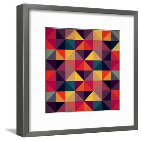 Grunge Colorful Seamless Pattern with Triangles- Artgraphixel-Framed Art Print