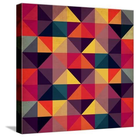 Grunge Colorful Seamless Pattern with Triangles- Artgraphixel-Stretched Canvas Print