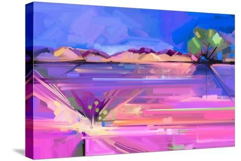 Abstract Oil Painting Landscape Background. Colorful Yellow and Purple Sky. Oil Painting Outdoor La-pluie_r-Stretched Canvas Print