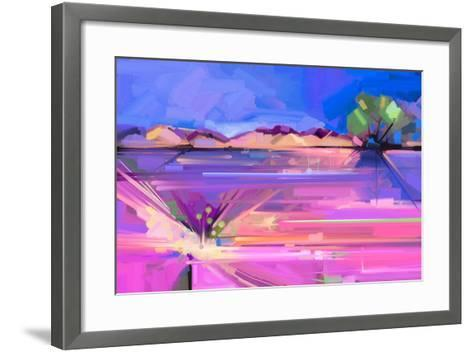 Abstract Oil Painting Landscape Background. Colorful Yellow and Purple Sky. Oil Painting Outdoor La-pluie_r-Framed Art Print