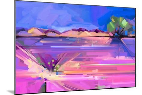 Abstract Oil Painting Landscape Background. Colorful Yellow and Purple Sky. Oil Painting Outdoor La-pluie_r-Mounted Art Print