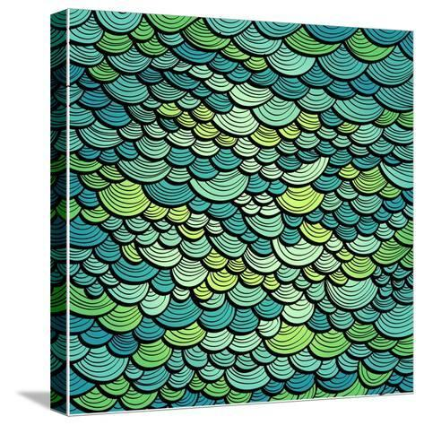 Abstract Green Marine Background Imitating Fish Scales. Raster Version of the Vector Image-tairen-Stretched Canvas Print