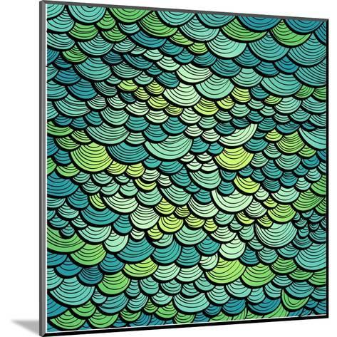 Abstract Green Marine Background Imitating Fish Scales. Raster Version of the Vector Image-tairen-Mounted Art Print