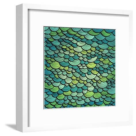 Abstract Green Marine Background Imitating Fish Scales. Raster Version of the Vector Image-tairen-Framed Art Print