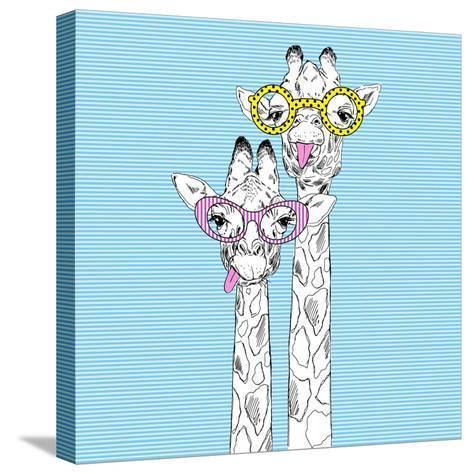 Illustration of Giraffes in Funky Glasses-Olga_Angelloz-Stretched Canvas Print