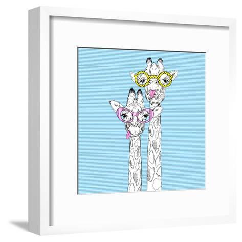 Illustration of Giraffes in Funky Glasses-Olga_Angelloz-Framed Art Print