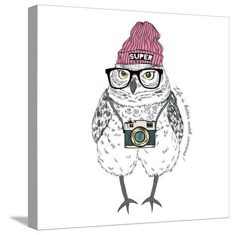 Owl Hipster with Camera-Olga_Angelloz-Stretched Canvas Print