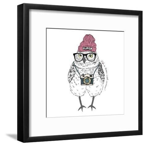Owl Hipster with Camera-Olga_Angelloz-Framed Art Print