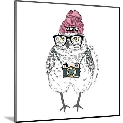 Owl Hipster with Camera-Olga_Angelloz-Mounted Art Print