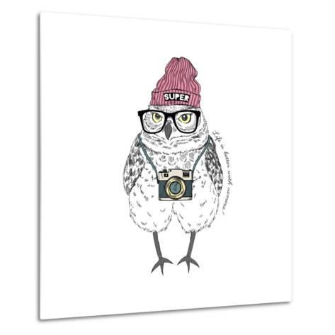 Owl Hipster with Camera-Olga_Angelloz-Metal Print