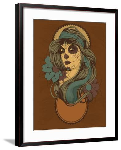 Woman as Sugar Skull with Detailed Hair Dressed for Day of the Dead- Transfuchsian-Framed Art Print