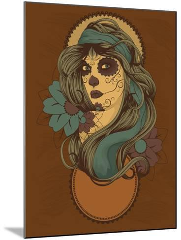 Woman as Sugar Skull with Detailed Hair Dressed for Day of the Dead- Transfuchsian-Mounted Art Print