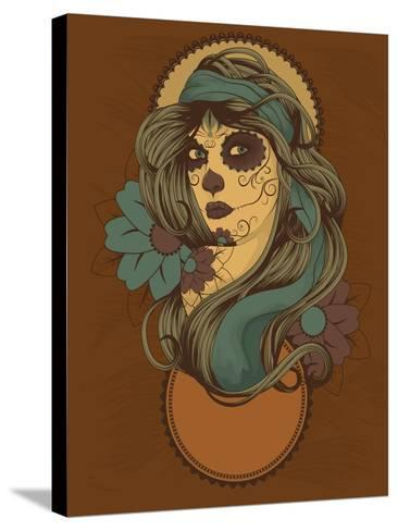 Woman as Sugar Skull with Detailed Hair Dressed for Day of the Dead- Transfuchsian-Stretched Canvas Print