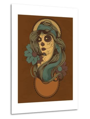 Woman as Sugar Skull with Detailed Hair Dressed for Day of the Dead- Transfuchsian-Metal Print