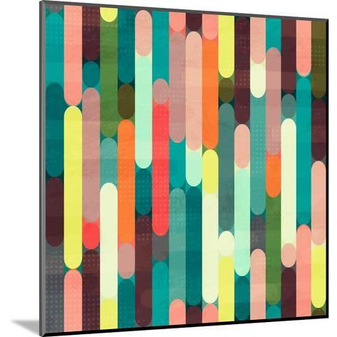 Retro Stripe Seamless Pattern with Grunge Effect- gudinny-Mounted Art Print
