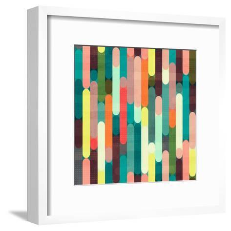 Retro Stripe Seamless Pattern with Grunge Effect- gudinny-Framed Art Print