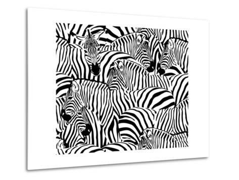 Abstract Illustration Herd of Zebras, Animal Seamless Pattern, Fashion Striped Print, Monochrome, C-Viktoriya Panasenko-Metal Print