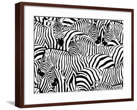 Abstract Illustration Herd of Zebras, Animal Seamless Pattern, Fashion Striped Print, Monochrome, C-Viktoriya Panasenko-Framed Art Print