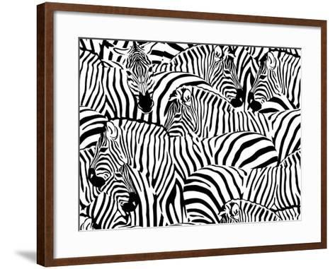 Abstract Illustration Herd of Zebras, Animal Seamless Pattern, Fashion Striped Print, Monochrome, C-Viktoriya Panasenko-Framed Art Print
