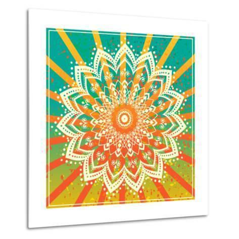 Ornament Black White Card with Mandala. Geometric Circle Element Made in Vector. Perfect Cards for-An Vino-Metal Print