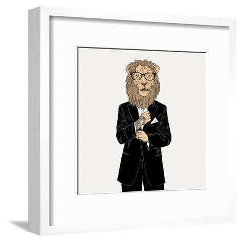Lion in a Tuxedo with Tattoo-Olga_Angelloz-Framed Art Print