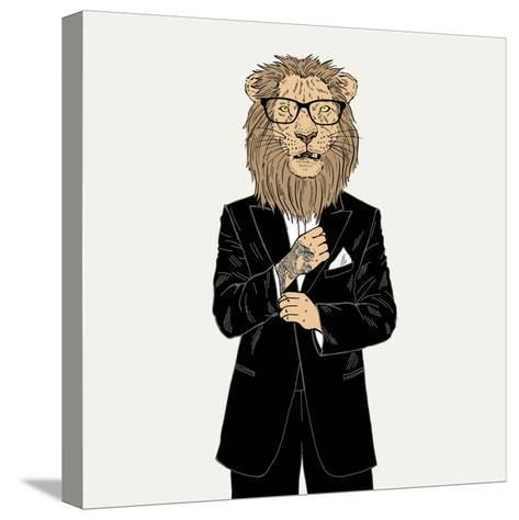 Lion in a Tuxedo with Tattoo-Olga_Angelloz-Stretched Canvas Print