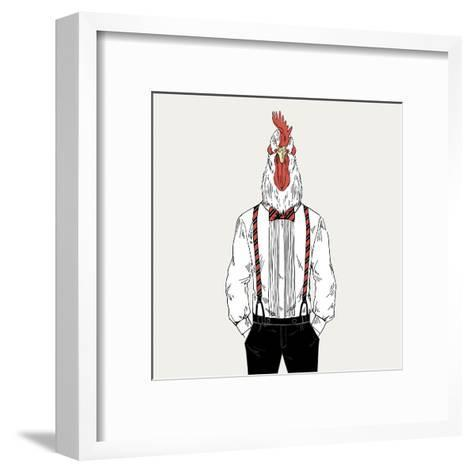 Rooster Dressed up in Classy Style-Olga_Angelloz-Framed Art Print