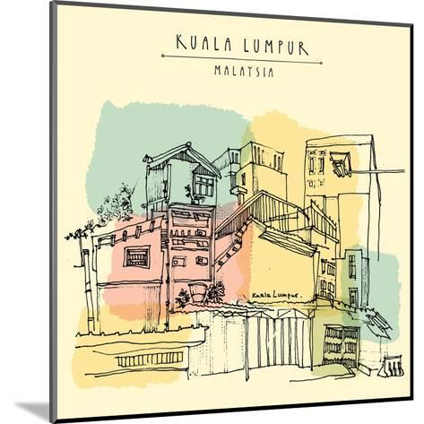 Kuala Lumpur, Malaysia. Casual View of Buildings in China Town. Travel Postcard Template with Kuala-babayuka-Mounted Art Print