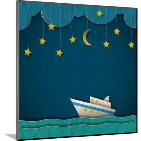 Paper Cruise Liner at Night. Creative Vector Eps 10- A-R-T-Mounted Art Print