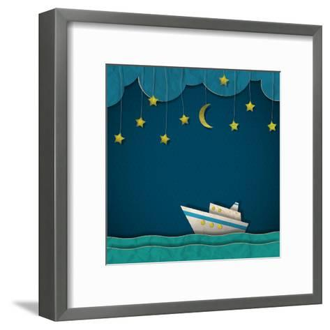 Paper Cruise Liner at Night. Creative Vector Eps 10- A-R-T-Framed Art Print