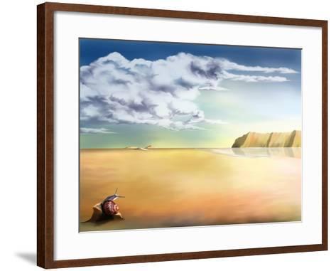 An Original Stylized Illustration of a Surreal Landscape Background-paul fleet-Framed Art Print
