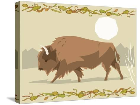 Bison in a Decorative Illustration-Artistan-Stretched Canvas Print