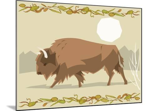 Bison in a Decorative Illustration-Artistan-Mounted Art Print