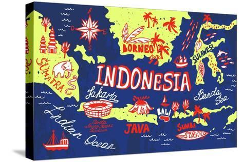 Illustrated Map of Indonesia-Daria_I-Stretched Canvas Print