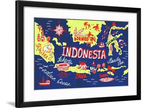 Illustrated Map of Indonesia-Daria_I-Framed Art Print