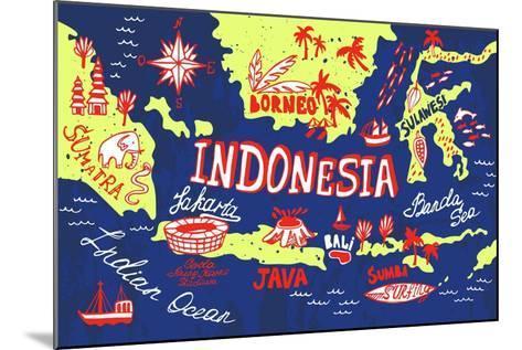 Illustrated Map of Indonesia-Daria_I-Mounted Art Print