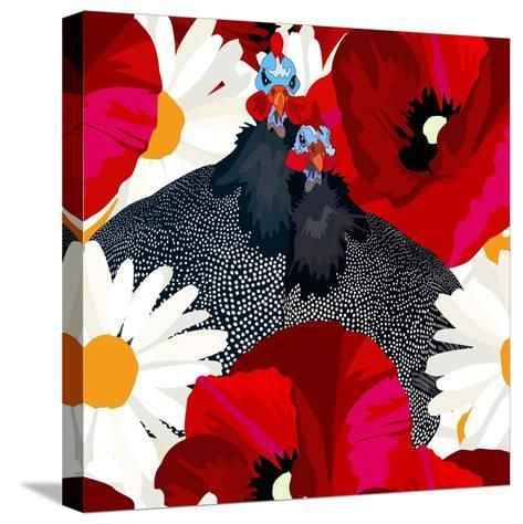Abstract Draw Rooster Hen, Floral Background (Daisy, Red Poppy), Black White Polka Dots, Seamless P-Viktoriya Panasenko-Stretched Canvas Print