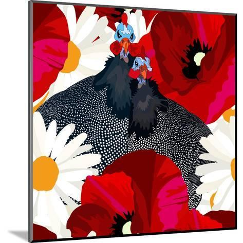 Abstract Draw Rooster Hen, Floral Background (Daisy, Red Poppy), Black White Polka Dots, Seamless P-Viktoriya Panasenko-Mounted Art Print