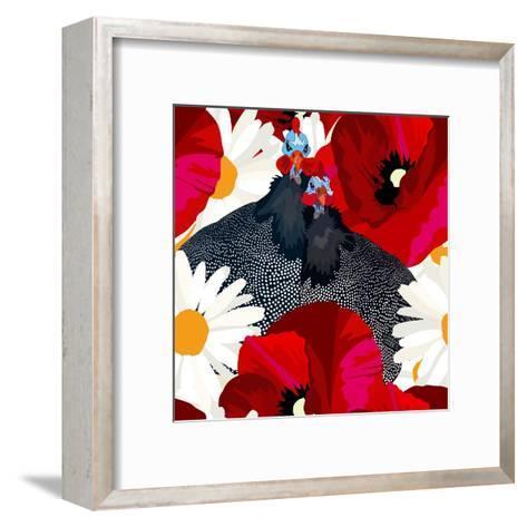 Abstract Draw Rooster Hen, Floral Background (Daisy, Red Poppy), Black White Polka Dots, Seamless P-Viktoriya Panasenko-Framed Art Print