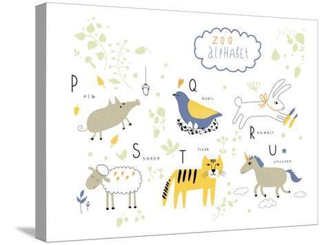 Zoo Alphabet - P, Q, R, S, T, U Letters-Lera Efremova-Stretched Canvas Print