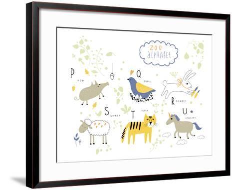 Zoo Alphabet - P, Q, R, S, T, U Letters-Lera Efremova-Framed Art Print