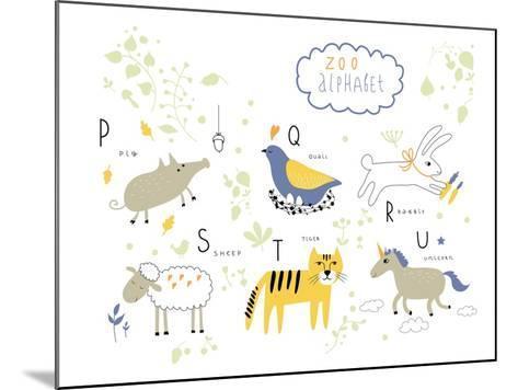 Zoo Alphabet - P, Q, R, S, T, U Letters-Lera Efremova-Mounted Art Print