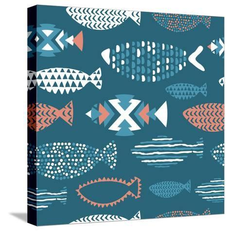 Tribal Fish Pattern-Tasiania-Stretched Canvas Print