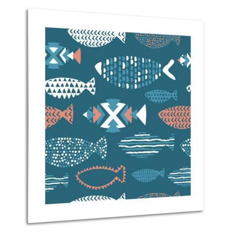 Tribal Fish Pattern-Tasiania-Metal Print