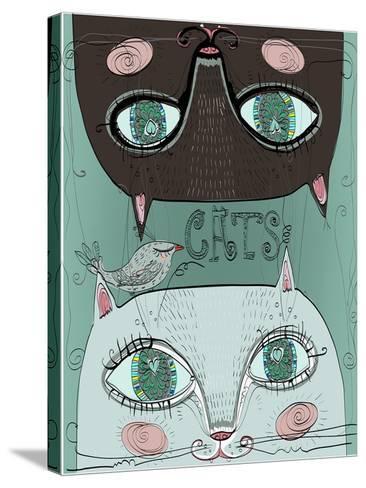 Portraits of Two Cute Cats-Elena Barenbaum-Stretched Canvas Print