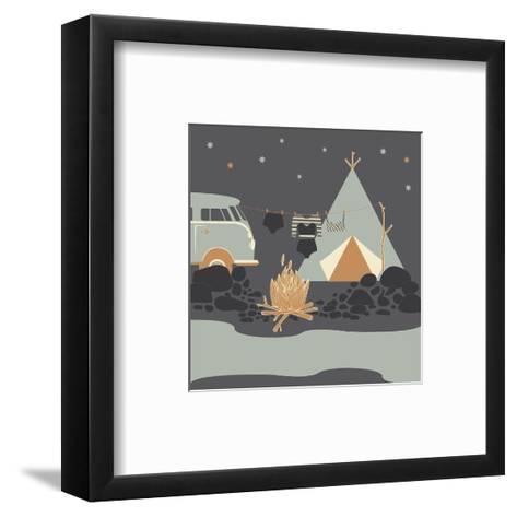 Summer Camp Fire Illustration at Night-Tasiania-Framed Art Print