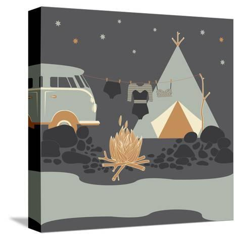 Summer Camp Fire Illustration at Night-Tasiania-Stretched Canvas Print