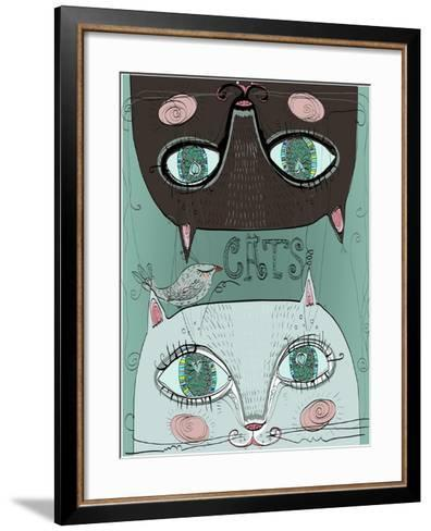 Portraits of Two Cute Cats-Elena Barenbaum-Framed Art Print