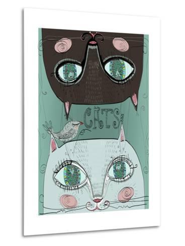 Portraits of Two Cute Cats-Elena Barenbaum-Metal Print